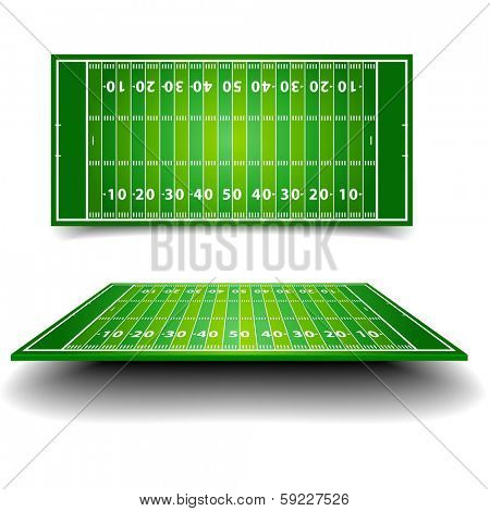detailed illustration of an American Football field with different perspectives, eps10 vector
