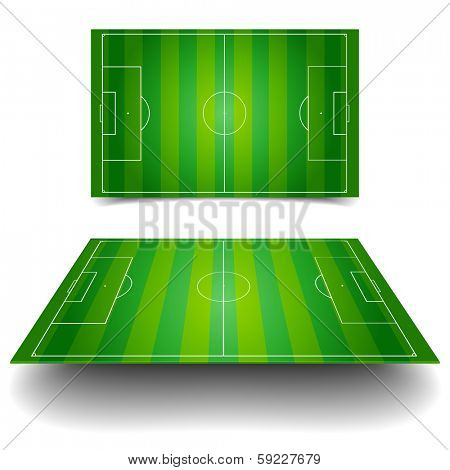 detailed illustration of a soccer field with different perspectives, eps10 vector