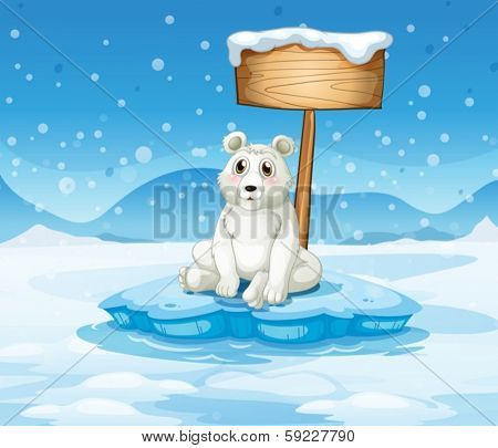 Illustration of a polar bear sitting under the empty wooden signboard