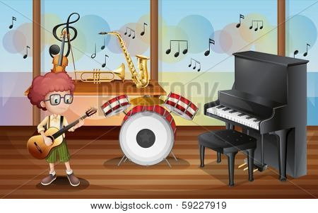 Illustration of a young guitarist inside the music studio