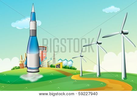 Illustration of a rocket at the hilltop with windmills