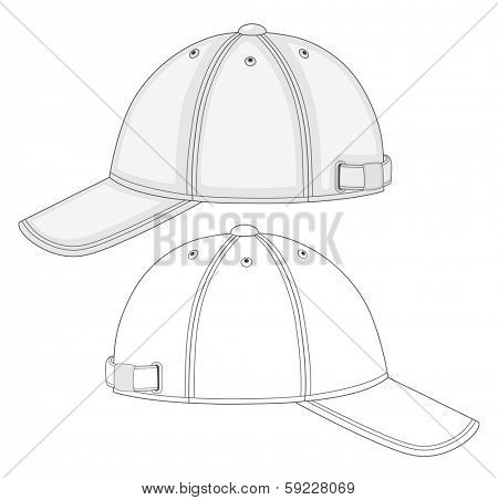 Vector illustration of baseball cap (side view). No mesh. Color redact easy.