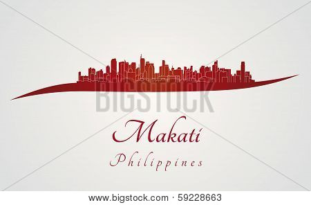 Makati Skyline In Red
