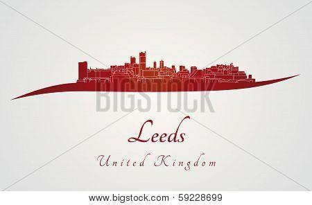 Leeds Skyline In Red