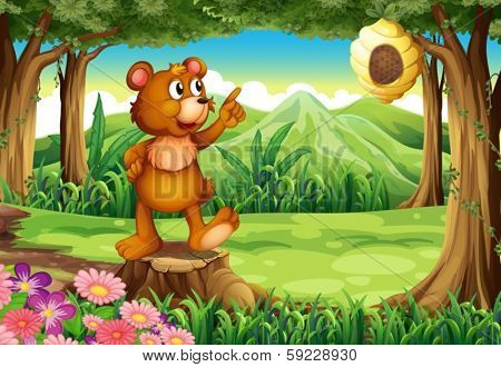 Illustration of a bear at the forest standing above the stump near the beehive