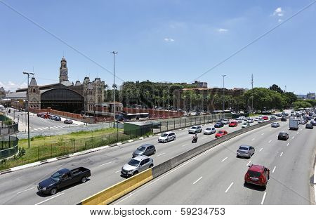 Sao Paulo Circa January 2014: Traffic on Avenida, Sao Paulo city Brazil