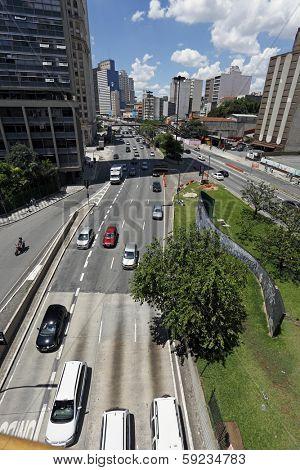 S���£o Paulo Circa January 2014: Traffic on Avenida, Sao Paulo city Brazil