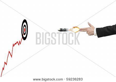 Hand Gun Gesture With Bullet, Target, Trend And Money Symbol