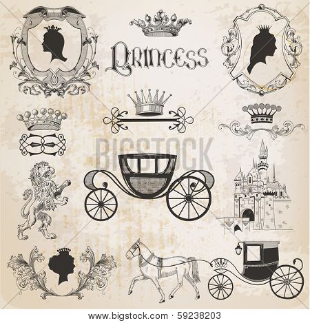 Vintage Princess Girl Set - for design and scrapbook - in vector
