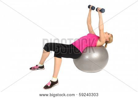 Dumbbell Chest Fly on Stability Fitness Ball Exercise, phase 2 of 2