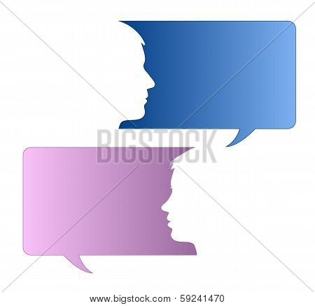 Speech Bubbles With Male And Female Face