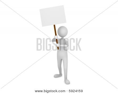 Man holding blank sign board