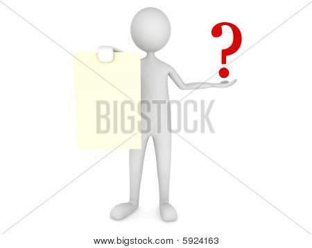 Man showing paper sheet with question mark
