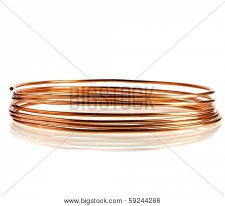 copper pipe wire  isolated on white background