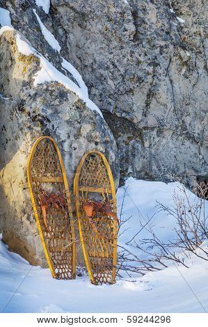 vintage wooden Bear Paw snowshoes in Colorado winter landscape