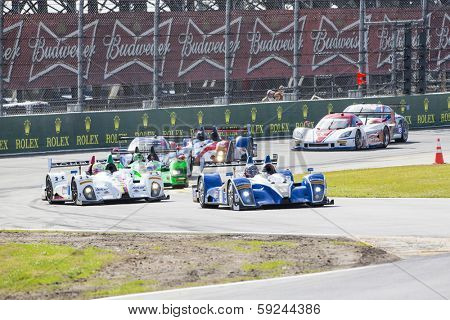 Daytona Beach, FL - Jan 24, 2014:  The Tudor United SportsCar Championship teams take to the track for a practice session for the Rolex 24 at Daytona International Speedway in Daytona Beach, FL.