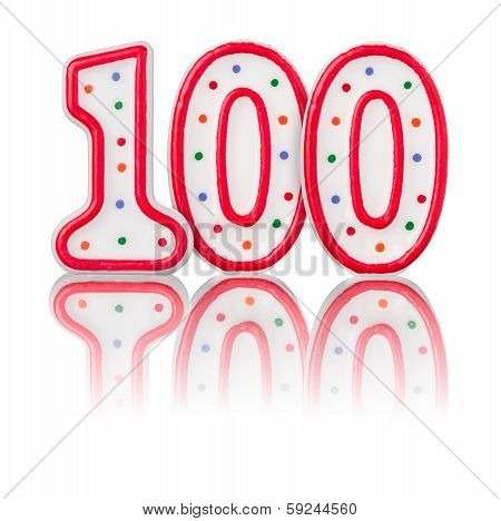 Red number 100 on a white background with reflection