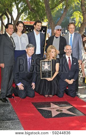 LOS ANGELES - JAN 29: Peter Roth, Jeremy Sisto, Larry David, Kevin Nealon, Cheryl Hines, Leron Gubler, Mitch O'Farrell as Cheryl Hines is honored on the Walk of Fame January 29, 2014, Los Angeles, CA