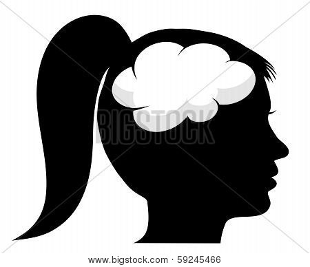 Female Silhouette With Brain