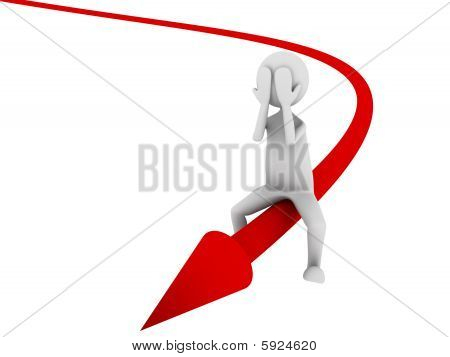 Man surfing economy arrow