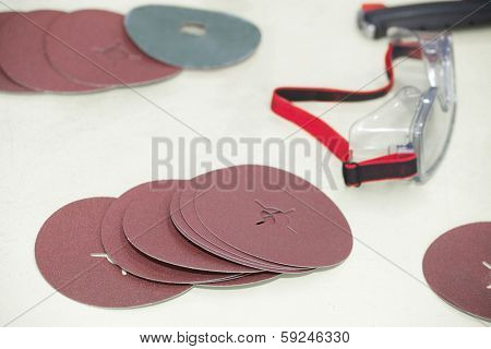 Image of a abrasive discs and eyewear
