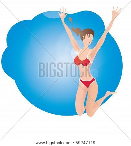 Woman in Bathing suit jumping