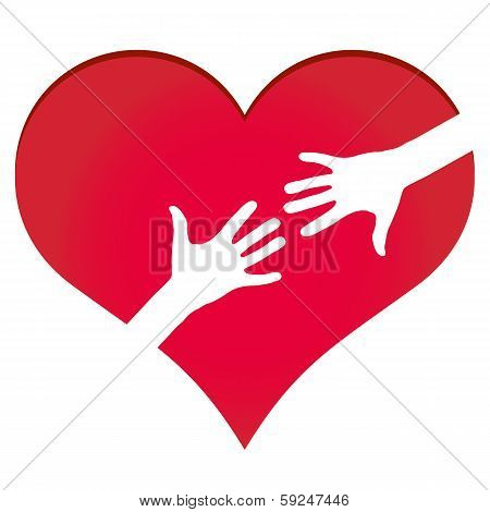 Hands Reaching Each Other In Heart Symbol