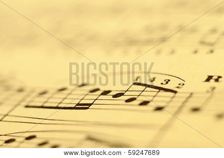 Macro Of Music Score For Background