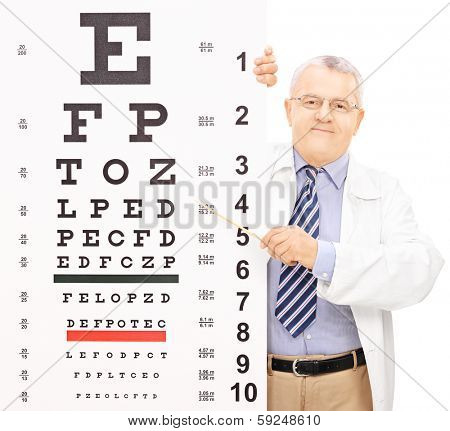 Male optician pointing to an eyesight test with a stick isolated on white background, shot with tilt and shift lens