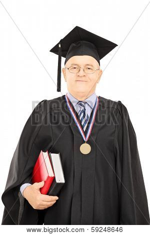 Portrait of a university dean in graduation gown posing isolated on white background