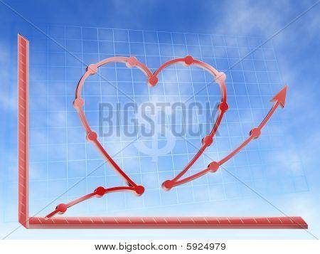 success in busines love money graphic
