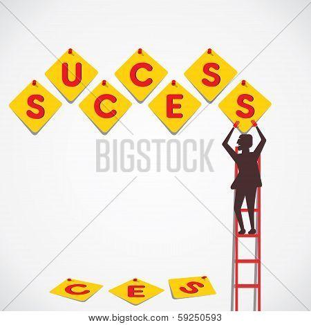 push pin make success word vector