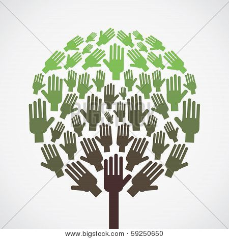 abstract hand tree vector