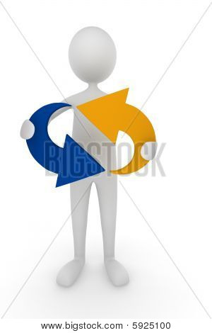 Man holding recycle icon