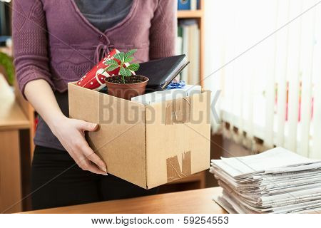 Office White Collar Worker With Things Collected In A Box