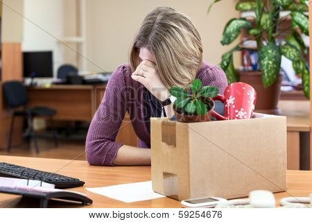 Dismissal At Work, Weeping Employee With Things To Take Away