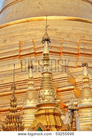 Golden pagoda elements of Shwedagon Paya in Yangon, Myanmar