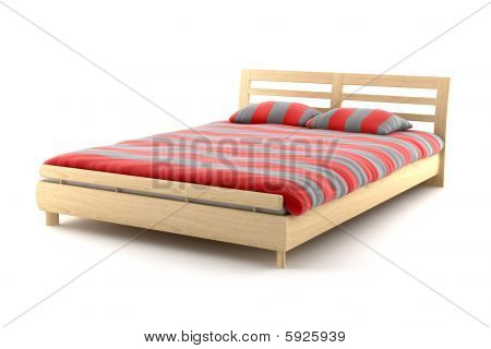 wooden bed isolated on white background