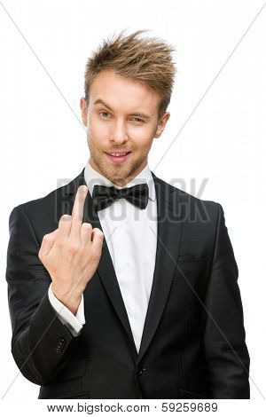 Half-length portrait of manager showing vulgar gesture, isolated on white. Concept of stress and aggression