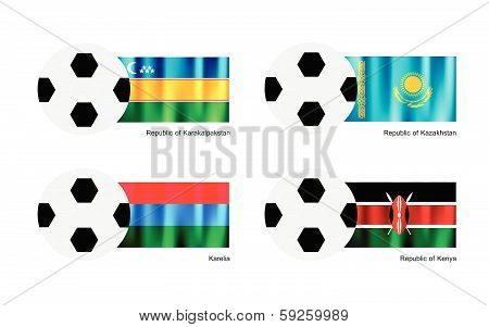 Soccer Ball With Karakalpakstan, Kazakhstan, Karelia And Kenya Flag