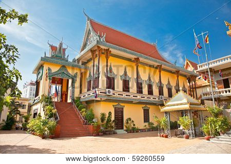 PHNOM PENH, CAMBODIA - DEC 3, 2013: Wat Ounalom Pagoda  in Phnom Penh, Cambodia. Phnom Penh is the capital and largest city of Cambodia. Located on the banks of the Mekong River.