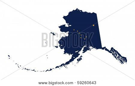 State of Alaska flag map isolated on a white background, U.S.A.