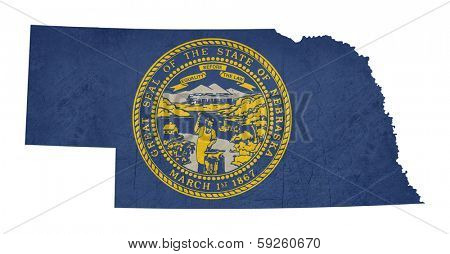 Grunge state of Nebraska flag map isolated on a white background, U.S.A.