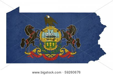 Grunge state of Pennsylvania flag map isolated on a white background, U.S.A.