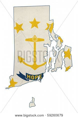 Grunge state of Rhode island flag map isolated on a white background, U.S.A.