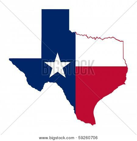 State of Texas flag map isolated on a white background, U.S.A.