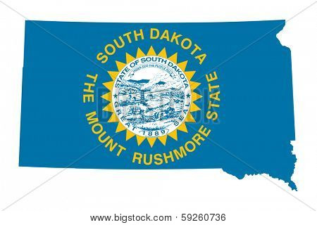 State of South Dakota flag map isolated on a white background, U.S.A.