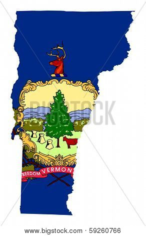 State of Vermont flag map isolated on a white background, U.S.A.