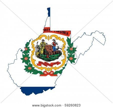 State of West Virginia flag map isolated on a white background, U.S.A.