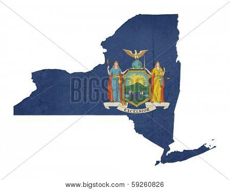 Grunge state of New York flag map isolated on a white background, U.S.A.